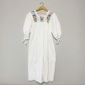 Embroidered summer peasant dress